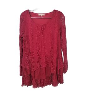 Indigo Soul Red Lace Hobo Style Top Size Small
